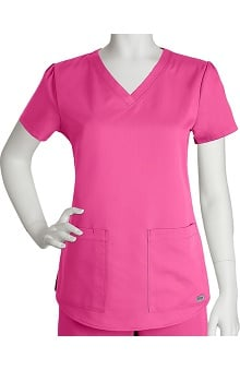 Clearance Grey's Anatomy™ Women's V-Neck Solid Scrub Top with Shirr Back
