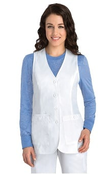 Clearance Prima by Barco Uniforms Women's White 3 Pocket Button Vest Solid Scrub Top