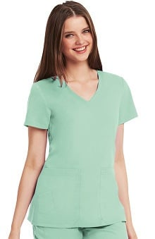 Clearance KD110 Women's V-Neck Solid Scrub Top