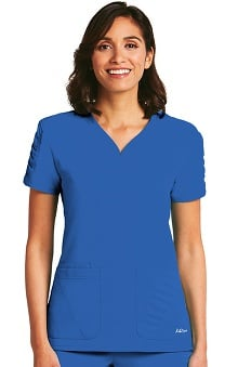 KD110 Women's Shirred Sleeve Heart Neck Scrub Top