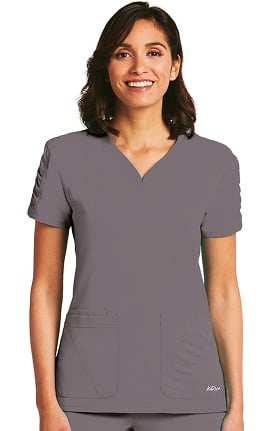 Clearance KD110 Women's Shirred Sleeve Heart Neck Scrub Top