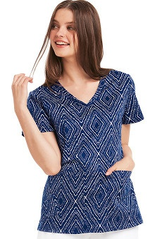 KD110 Women's V-Neck Geometric Print Scrub Top
