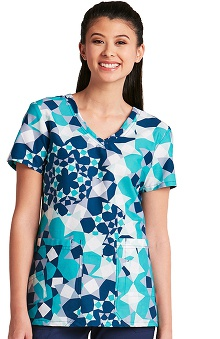 Clearance KD110 Women's V-Neck Geometric Print Scrub Top