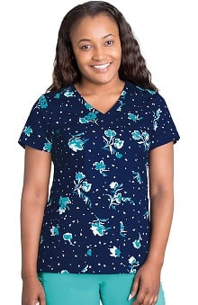 KD110 Women's V-Neck Floral Print Scrub Top