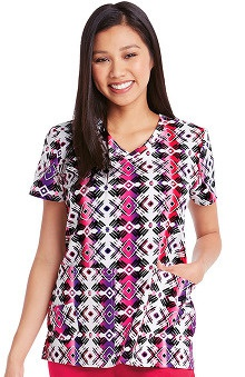 KD110 Women's V-Neck Tribal Print Scrub Top