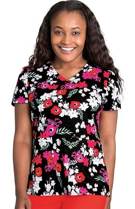 Clearance KD110 Women's V-Neck Floral Print Scrub Top