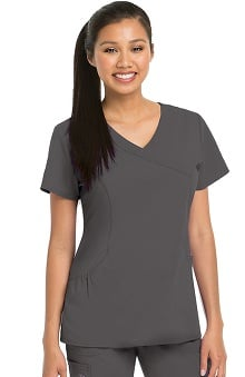 KD110 Women's Kellie Mock Wrap Solid Scrub Top