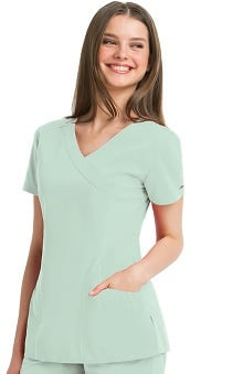 Clearance KD110 Women's Kellie Mock Wrap Solid Scrub Top