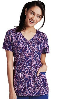 KD110 Women's Abby V-Neck Paisley Print Scrub Top