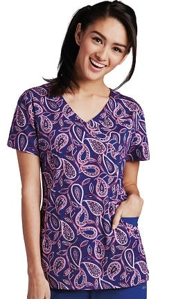 Clearance KD110 Women's Abby V-Neck Paisley Print Scrub Top
