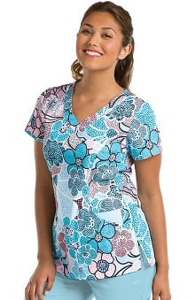 KD110 Women's Abby V-Neck Floral Print Scrub Top