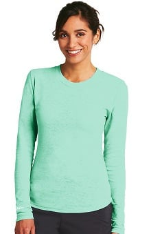 KD110 Women's Long Sleeve Pieced Back Burnout Thermal T-Shirt