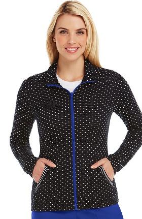 Clearance KD110 Women's Jessie Zip Up Knit Polka Dot Print Scrub Jacket