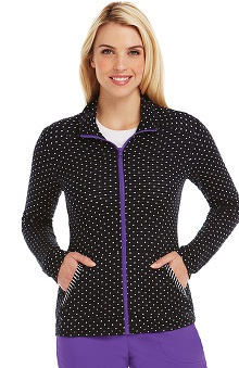 Clearance KD110 Women's Jessie Polka-Dot Print Knit Scrub Jacket