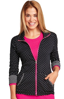 KD110 Women's Long Sleeve Zip Front Jersey Scrub Jacket