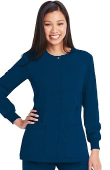 KD110 Women's Hayley Round Neck Solid Scrub Jacket