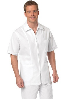 Lab Coats by Barco Uniforms Men's Twill Zip Front Short Sleeve Collared Shirt