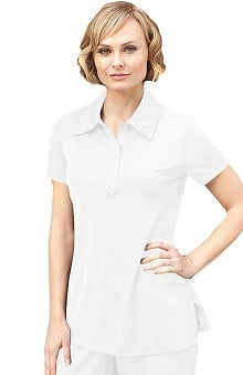 Verite by Barco Women's Donata Spa Polo Solid Scrub Top