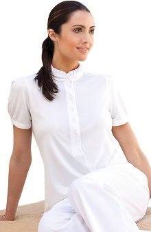 Clearance Verite by Barco Women's Mona Cute Polo Solid Scrub Top