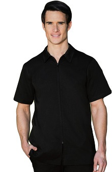 Verite by Barco Men's Stefano Zip Front Solid Scrub Top