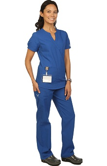 Boulevard Scrubs Women's Mock Wrap Scrub Top & Elastic Scrub Pant Set