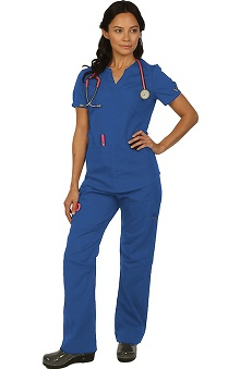 Boulevard Scrubs Women's Mock Wrap Scrub Top & Drawstring Cargo Scrub Pant Set