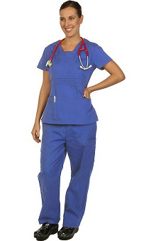 Boulevard Scrubs Women's Modified V-Neck Scrub Top & Elastic Scrub Pant Set