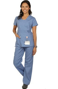 Boulevard Scrubs Women's Modified V-Neck Scrub Top & Drawstring Cargo Scrub Pant Set