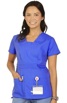 Boulevard Scrubs Women's Modified V-Neck Solid Scrub Top