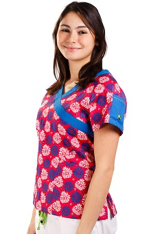 Clearance Crocs Uniforms Women's Julie Mock Wrap Print Top