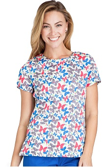 Clearance Crocs Uniforms Women's Button Placket Butterfly Print Scrub Top