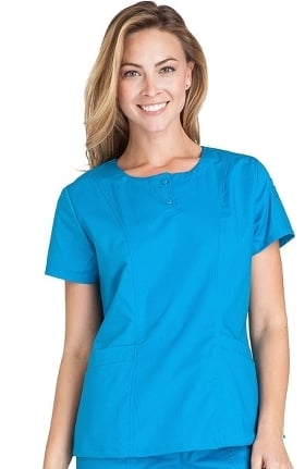 Clearance Crocs Uniforms Women's Susie Button Placket Solid Scrub Top