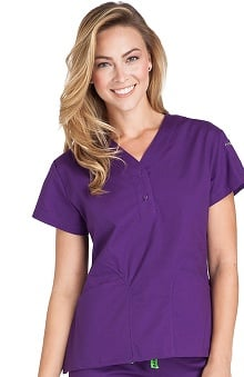 Clearance Crocs Uniforms Women's Emily Y-Neck Solid Scrub Top