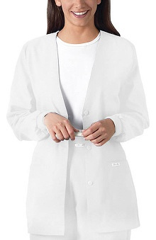 dental : Cherokee Women's Button Front Cardigan with Matching Rib Knit Cuffs Solid Scrub Jacket