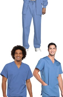 Cherokee Workwear Men's V-Neck Tops and Drawstring Pant 3 Piece Scrub Set