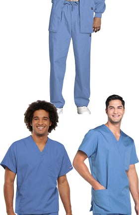Cherokee Workwear Originals Men's V-Neck Tops and Drawstring Pant 3 Piece Scrub Set