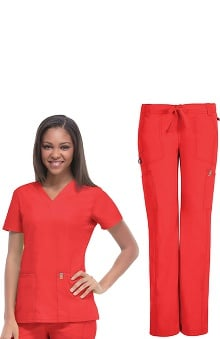 code happy™ with Antimicrobial Certainty Women's V-Neck Scrub Top & Low Rise Scrub Pant Set