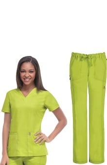 code happy™ Women's V-Neck Top & Low Rise Pant Set