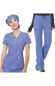 code happy™ with Antimicrobial Certainty Women's Mock Wrap Scrub Top & Mid-Rise Scrub Pant Set