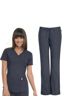 code happy with Antimicrobial and Fluid Barrier Certainty Plus Women's Mock Wrap Top & Mid-Rise Pant Set