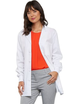 Cherokee Women's Knit Cuff Notched Lapel Lab Coat
