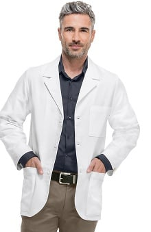 "Professional Whites by Cherokee with Certainty Plus Antimicrobial and Fluid Barrier Fabric Technology Men's Consultation 31"" Lab Coat"