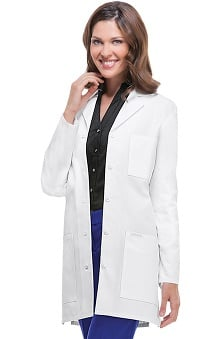 "Professional Whites by Cherokee with Antimicrobial and Fluid Barrier Certainty Plus Women's Stylish 32"" Lab Coat"