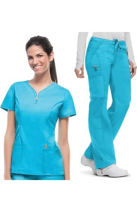 code happy Women's Zip V-Neck Scrub Top & Low Rise Scrub Pant Set