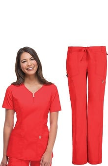 code happy™ with Antimicrobial and Fluid Barrier Certainty Plus Women's Zip V-Neck Top & Low Rise Pant Set