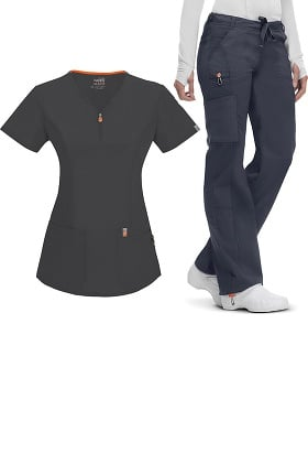 code happy Women's Zip V-Neck Top & Low Rise Pant Set