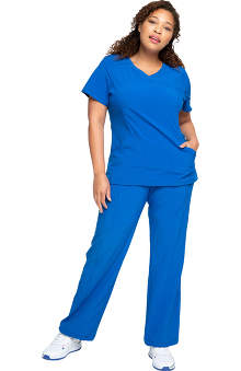 Infinity by Cherokee with Certainty Antimicrobial Fabric Technology Women's Mock Wrap Scrub Top & Straight Leg Scrub Pant Set