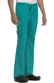 code happy™ with Certainty Antimicrobial Fabric Technology Men's Drawstring Cargo Scrub Pant