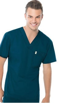 code happy™ with Certainty Antimicrobial Fabric Technology Men's V-Neck Solid Scrub Top