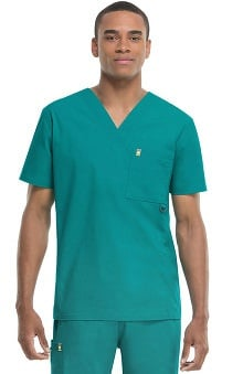 code happy™ with Certainty Plus Antimicrobial and Fluid Barrier Fabric Technology Men's V-Neck Solid Scrub Top